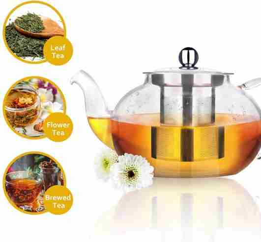 AckMond Clear Glass Teapot with Stainless Steel Infuser