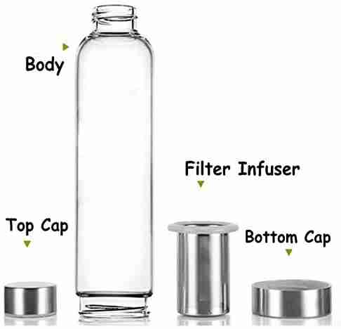 Buoyancy 550ml Portable and Stylish Glass Tea Bottle with Stainless Steel Filter