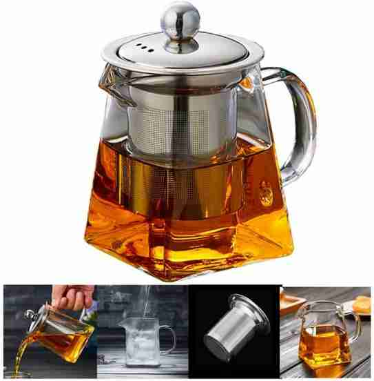 PluieSoleil Glass Teapot for One with Heat Infuser Perfect for Tea
