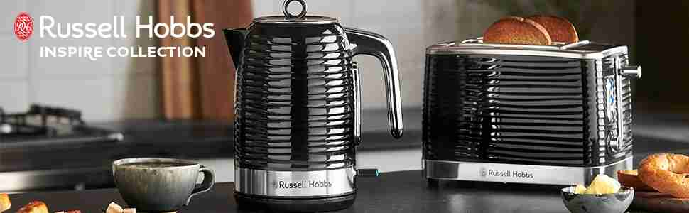 Russell Hobbs Inspire Black Kettle and 2 Slice Toaster